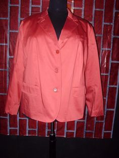 Talbots womens plus size blazer-24W-Lined-Coral Rust color-NEW NWT-$169 MSRP #Talbots #Blazer
