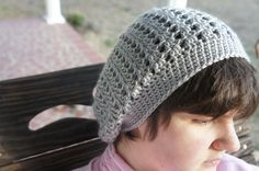 Crochet Grey/ Silver Lacy Stitch Slouchy Soft Hat by ToniDStudio