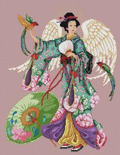 0 point de croix femme asiatique orientale féé - cross stitch fairy asian lady
