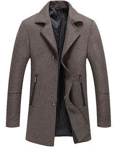 Abetteric Mens Shawl Collar Fall Winter Mid Long Windproof Cardigan