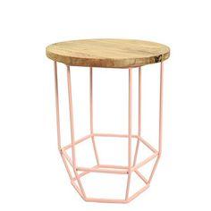 Svetloružový stolík s drevenou doskou  HF Living Hexa Blush mini