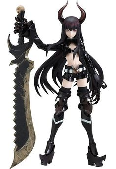 """The red eyes that pierce through the darkness. From the anime """"Black Rock Shooter"""" comes a figma of the mysterious ''Black Gold Saw', who was seen fighting with Black Rock Shooter at the very beginning of the movie. Using the smooth yet . Black Rock Shooter, 17 Black, Black Gold, Bjd, Dynamic Action, Sayaka Miki, Black Figure, Anime Figurines, Doll Repaint"""