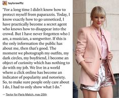 Taylor on balancing her career and personal life and how she's tried her best to keep the focus on her music✨🙌💛#Taylorswift