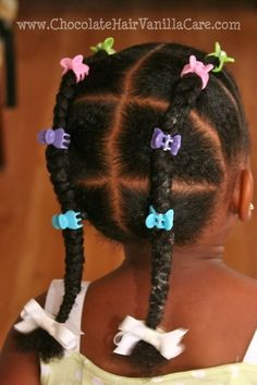 Ok so not for my fro but it's a cute kid style! Chocolate Hair / Vanilla Care : Natural hair care for kids, transracial adoption, and everything in-between. Lil Girl Hairstyles, Natural Hairstyles For Kids, Kids Braided Hairstyles, My Hairstyle, Hairstyle Ideas, Short Hairstyles, 1940s Hairstyles, Braided Ponytail, Short Haircuts