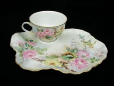 HAVILAND LIMOGES FRANCE - TOAST TEA CUP SNACK SET - PINK YELLOW ROSES