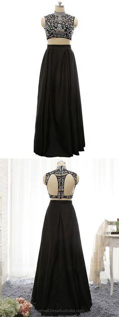 Long Formal Dresses Black, Two Piece Formal Dress Satin, A-line Party Dresses, Open Back Evening Dresses