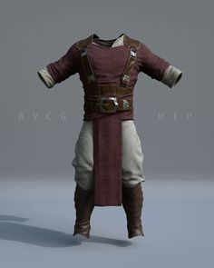 Early Costume/Armor Model and Materials WIP for a new character I'm working on. Used Maya, Zbrush, Quixel DDO, Nuke, and Redshift renderer for mat dev. Fantasy Character Design, Character Design Inspiration, Character Art, Larp, Costume Armour, Cosplay Costume, Armor Clothing, Medieval Clothing, Grandeur Nature