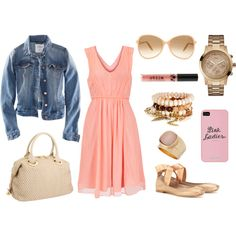 Coral Dress and Jean Jacket :)
