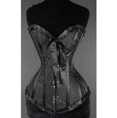 Steel Boned Black Romantic Ribbon Victorian Gothic Overbust Clasp Corset