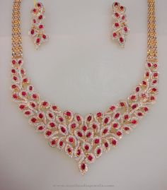 Gold CZ Stone Necklace Set with Earrings, Latest Model Gold CZ Stone Necklace Designs, Gold CZ Stone Necklace Models.