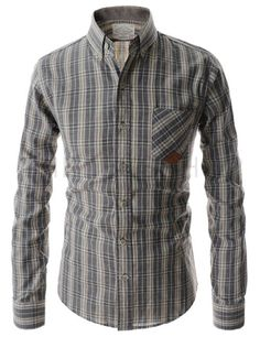 (HAL48-GRAY) Mens Slim Button Down 1 Chest Pocket Check Pattern Long Sleeve Shirts
