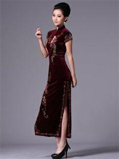 Women's Velvet Polyester Darkviolet Ankle-length Sequined flowers Cheongsam Dress