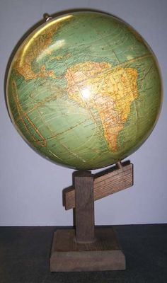"New Peerless 12 inch Globe  , ""Mission Oak"" Table Stand, Globe Maker: Atlas School Supply Co. Chicago; Cartographer: Weber Costello Co. (Published: Atlas School Supply Co. Chicago  1909 Chicago Heights, IL)"