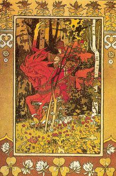 "Ivan Bilibin. fairy-tale ""Vasilisa the Beautiful"", 1900. Red horseman (Sun or Midday)."