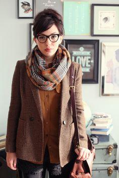 jacket, fashion, blazer, outfit, glass, tweed, scarv, coat, geek chic