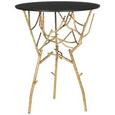 Safavieh Treasures Tara Gold/ Black Top Accent Table | Overstock.com Shopping - The Best Deals on Coffee, Sofa & End Tables