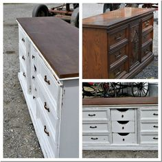 Repose Gray by Sherwinn Williams. Also LOOOOVVEE that they removed the door and exposed the center drawers.