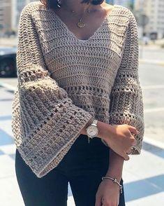Ravelry: December Bells blouse pattern by Safaa Amin Crochet Coat, Crochet Cardigan, Crochet Clothes, Crochet Hooks, Free Crochet, Modern Crochet, Cardigan Pattern, Crochet Fashion, Single Crochet