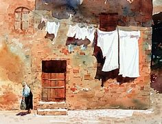 Wash Day in Monteriggioni by Carl Purcell 11 x 14 watercolor - BoldBrush Painting Competition Winners