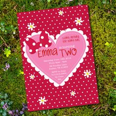 Minnie Mouse Inspired Party Invitation with Polka Dots, daisies and a Heart #minnie #clubhouse #minniemouse