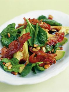 avocado, pancetta & pine nut salad | Jamie Oliver | Food | Jamie Oliver (UK) - Just use a paleo dressing
