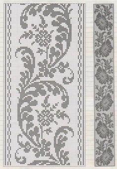 Gallery.ru / Фото #18 - hh - ergoxeiro Filet Crochet, Crochet Patterns Filet, Crochet Lace Edging, Crochet Borders, Crochet Chart, Crochet Doilies, Thread Crochet, Cross Stitch Borders, Cross Stitch Designs