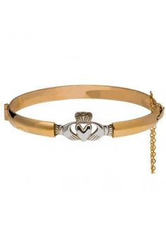 rolled-gold-and-silver-claddagh-bangle