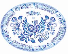 Gzel. Russian style. Bluebird of happiness.