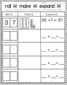 FREE ~ place value practice for deeper understanding of 2 digit addition ~ roll it ~ write it ~ build it ~ draw it ~ write it in expanded notation ~ first grade math ~ common core ~ Grade Math,Classroom ideas,Ideas Math Classroom, First Grade Classroom, Classroom Freebies, Math Math, Classroom Decor, Math Place Value, Place Value Activities, Math Activities, Base Ten Activities