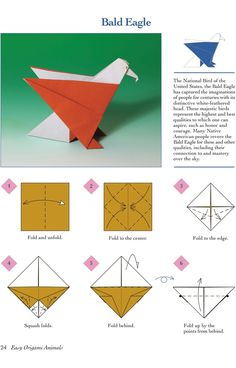 Easy Origami Animals - page 5 of 6 (Bald Eagle - 1 of 2)