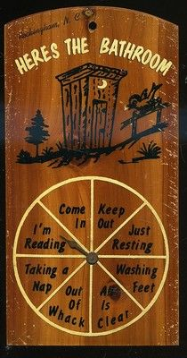 VINTAGE KNOTTY PINE BATHROOM OUTHOUSE SIGN HERES THE BATHROOM