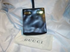 pre-owned authentic GUCCI black leather PURSE pocketbook BELT LOOP BAG rare!