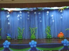 Balloons by Tommy - Photo Gallery - Miscellaneous Mermaid Under The Sea, Under The Sea Theme, Under The Sea Party, School Decorations, Balloon Decorations, Under The Sea Decorations, Underwater Theme, Bubble Guppies Birthday, Ocean Party