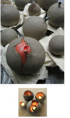 Cement, balloons, paint and candles! Awesome idea and I love the look of it.