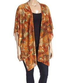 Another great find on #zulily! Pumpkin & Teal Watercolor Rose Open Cardigan - Plus #zulilyfinds