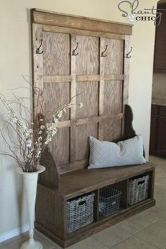 Diy with doggie beds instead of baskets? on either side on the front door