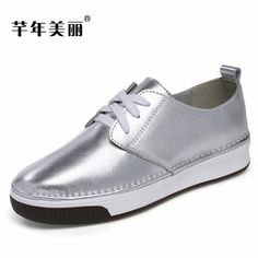 2018 new spring Flats Gold silver Leisure female shoes Loafers shoe Round toe lace-up Women Shoes zapatos mujer chaussure. Yesterday's price: US $27.02 (22.25 EUR). Today's price: US $27.02 (22.29 EUR). Discount: 41%.