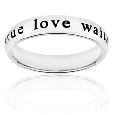 ELYA Stainless-Steel Laser-Engraved 'True Love Waits' Ring - Overstock™ Shopping - Big Discounts on West Coast Jewelry Stainless Steel Rings True Love Waits, Stainless Steel Rings, Promise Rings, Laser Engraving, Jewelry Watches, Wedding Rings, Teen Games, Engagement Rings, Silver