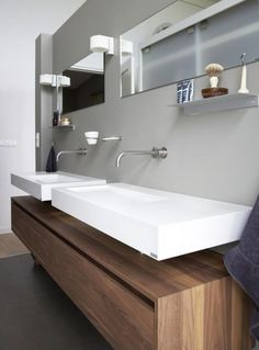 Explore all of the options for your bathroom sink! See beautiful modern bathroom sinks, the perfect sink for small bathrooms ideas, and how to compliment any bathroom vanity with the best sink for you. Bathroom Sink Design, Bathroom Sink Cabinets, Modern Bathroom Sink, Ideal Bathrooms, Bathroom Sink Vanity, Modern Bathroom Design, Bathroom Wall Decor, Bathroom Interior, Wooden Bathroom