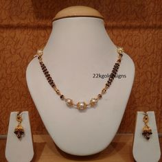 Latest Indian Gold and Diamond Jewellery Designs: Black beads South sea pearl Mala Gold Mangalsutra Designs, Jewellery Designs, Long Pearl Necklaces, Gold Necklace, Necklace Set, Gold Jewelry Simple, Sea Pearls, Beaded Jewelry, Gold Jewellery