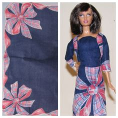 Ooak Barbie doll strapless dress and bolero jacket made from vintage hankie