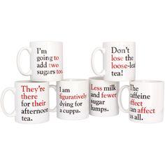 For your favorite grammar nazi: Grammar Grumble Mugs - Set of all 6