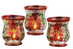 Christmas Stemmed Votive Holder - Set of 3 Poinsettia Flowers Crackled Glass Votive Candle Holder Christmas Accent Holiday Decoration Link Glass Votive Candle Holders, Christmas Candle Holders, Glass Candle Holders, Poinsettia Flower, Christmas Poinsettia, Christmas Stuff, Christmas Ideas, Christmas Wreaths, Indoor Christmas Decorations