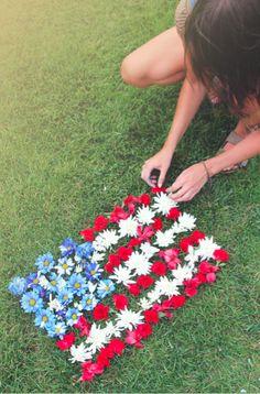 July 4th ~ flower petal flag