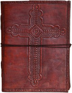 """Amazon.com : INDIARY Embossed Genuine Leather Journal With Handmade Paper 6x4"""" - Crimson Cross : Writing Notebooks : Office Products"""