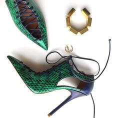 Malone Souliers green elaphe snakeskin lace-up pumps (=)