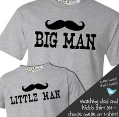 zoey's attic personalized gifts - Customized mustache big man Tshirt little man Tshirt or onesie matching gift set, $34.50 (http://www.zoeyspersonalizedgifts.com/products/customized-mustache-big-man-tshirt-little-man-tshirt-or-onesie-matching-gift-set.html)