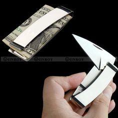 EDC 캠핑 지갑 돈 클립 나이프 접는 나이프 야외 다기능 휴대용 선물 칼 무료 배송