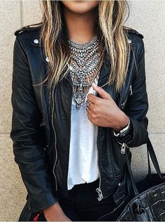 Pinterest: eighthhorcruxx. A leather jacket, t-shirt, and statement necklace.