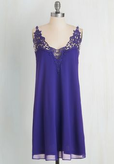 Sway it Right Dress in Lapis - Blue, Solid, Girls Night Out, Shift, Spaghetti Straps, Woven, Good, Crochet, Daytime Party, Beach/Resort, Mini, Short